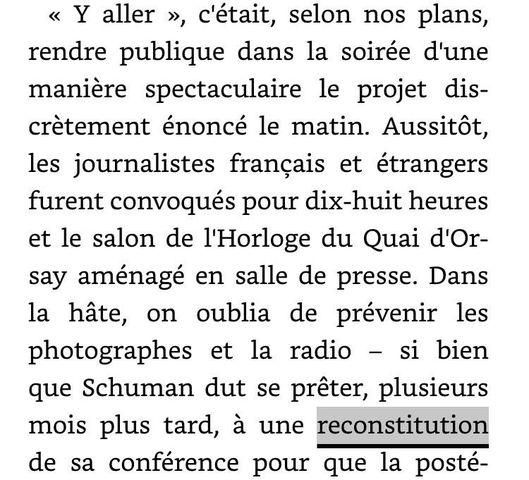 Monnet recalls the Schuman Declaration and its reenactment a few months later